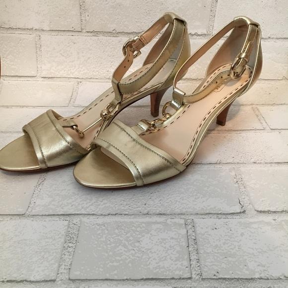 2772161adbc28 Coach Shoes | Open Toe Gold Leather Kitten Heels Size 7 | Poshmark